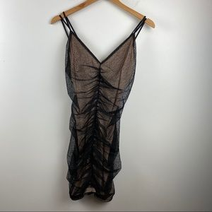 FRENCH KISS Black / Nude Sheer Dress NWT